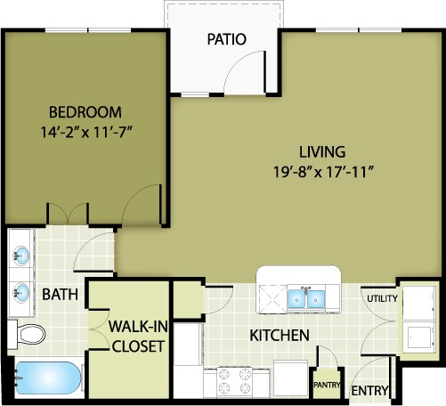 810 sq. ft. VALENTINO floor plan