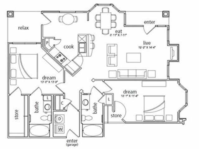 1,310 sq. ft. London floor plan