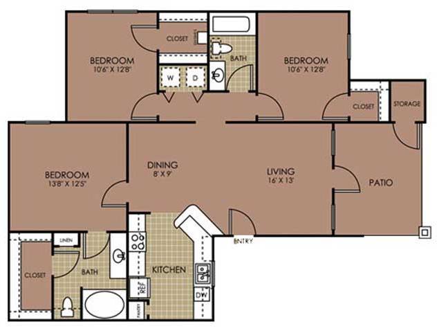 1,229 sq. ft. C1 floor plan