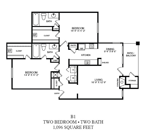 1,096 sq. ft. B1 floor plan