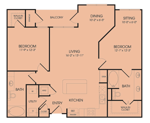 1,181 sq. ft. B2 floor plan