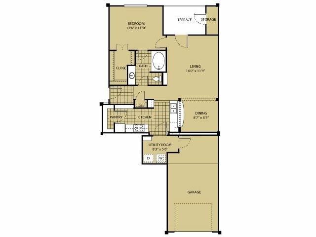 814 sq. ft. A6 floor plan