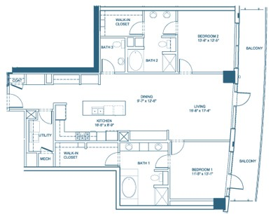 1,648 sq. ft. B7-Penthouse floor plan