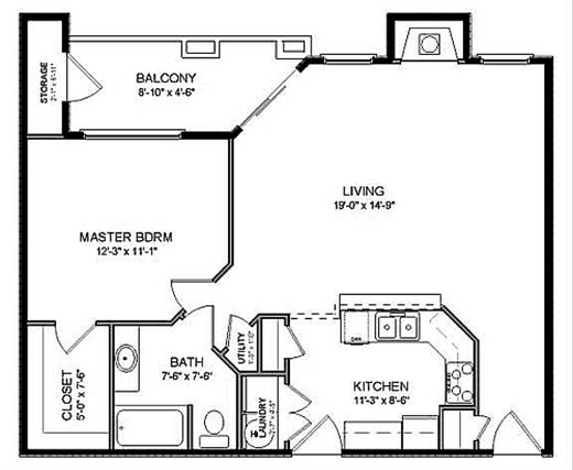 962 sq. ft. A2 floor plan