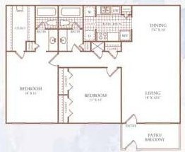 1,066 sq. ft. J floor plan