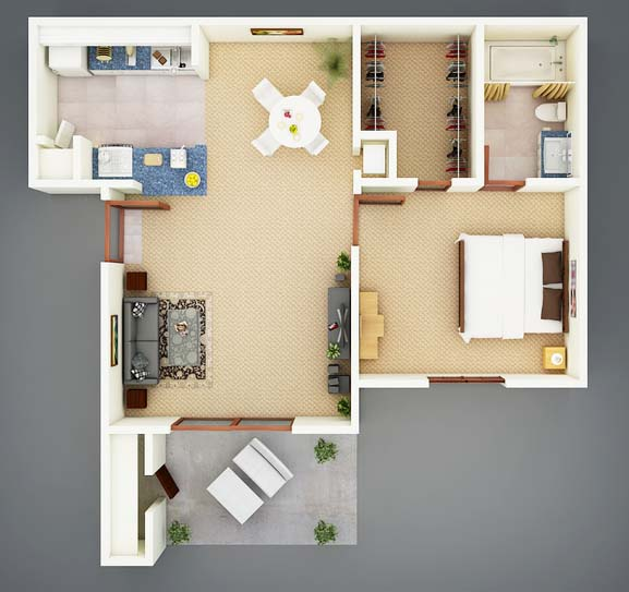 545 sq. ft. A1 Sago floor plan