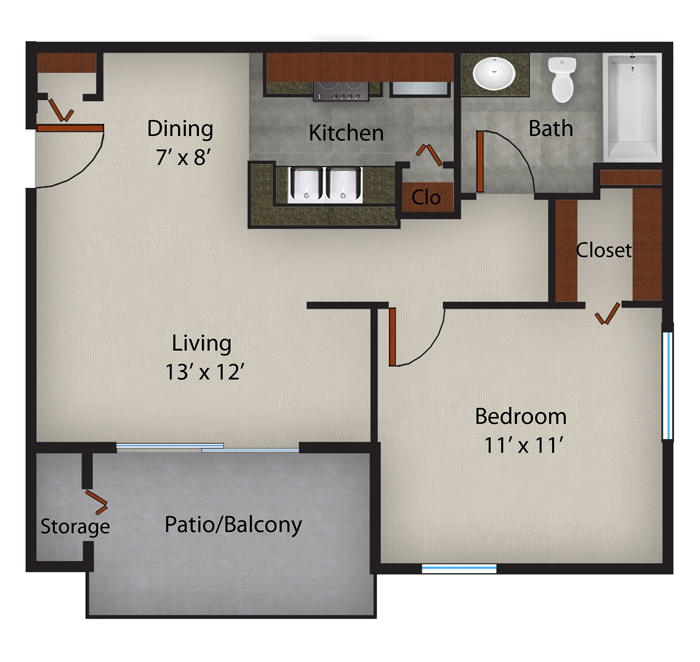 562 sq. ft. to 575 sq. ft. Jasmine-A4 floor plan