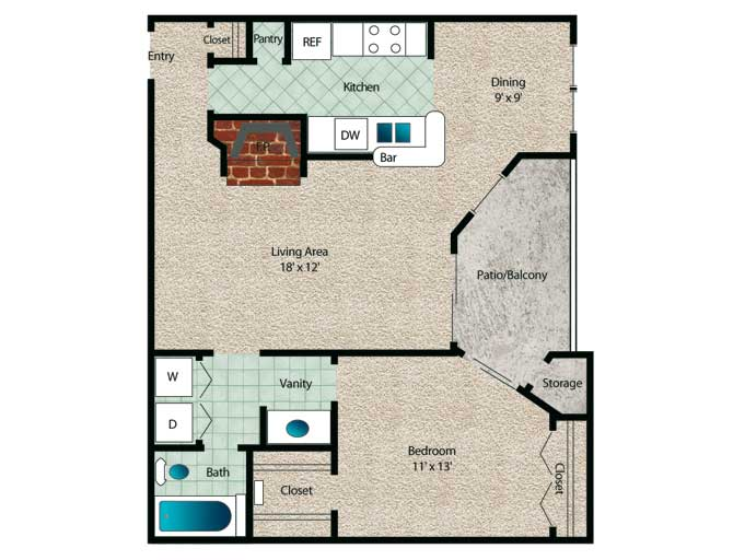 739 sq. ft. Magnolia floor plan
