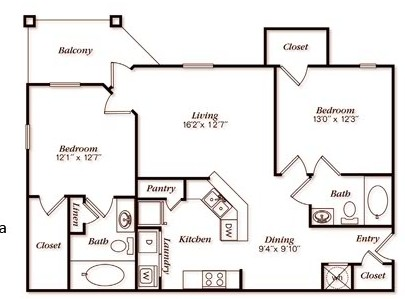 1,323 sq. ft. B52G floor plan