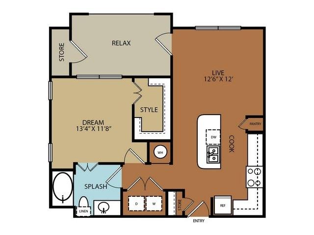 680 sq. ft. A2 floor plan