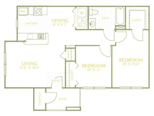 960 sq. ft. 60% floor plan