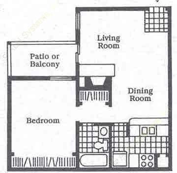 630 sq. ft. A3 floor plan