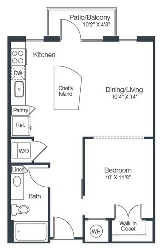 647 sq. ft. A1A floor plan