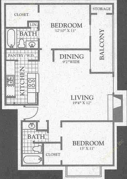 972 sq. ft. Rio Grand floor plan