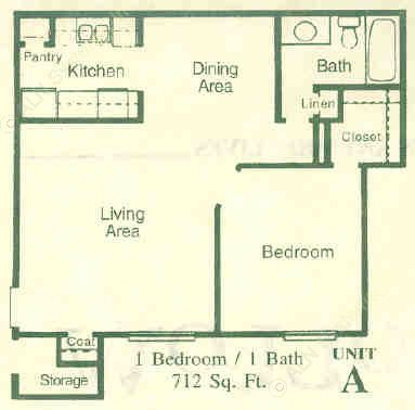 712 sq. ft. A floor plan