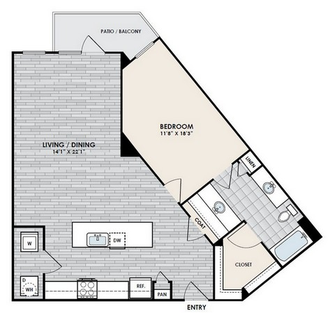 999 sq. ft. A3-1 floor plan