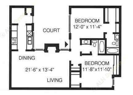 1,027 sq. ft. B floor plan