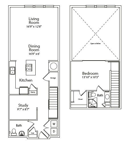 1,085 sq. ft. floor plan