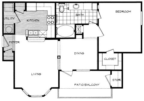 726 sq. ft. Rayburn floor plan