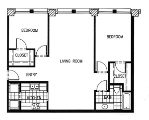 988 sq. ft. P8 MKT floor plan
