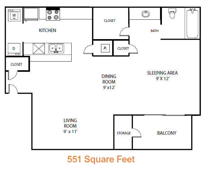 551 sq. ft. Mahogony floor plan