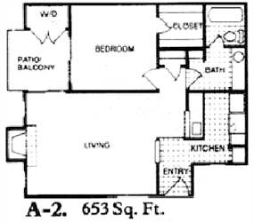 653 sq. ft. A2 floor plan