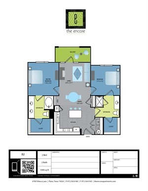 1,009 sq. ft. B1 floor plan