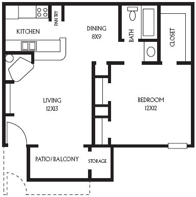 602 sq. ft. A3 floor plan
