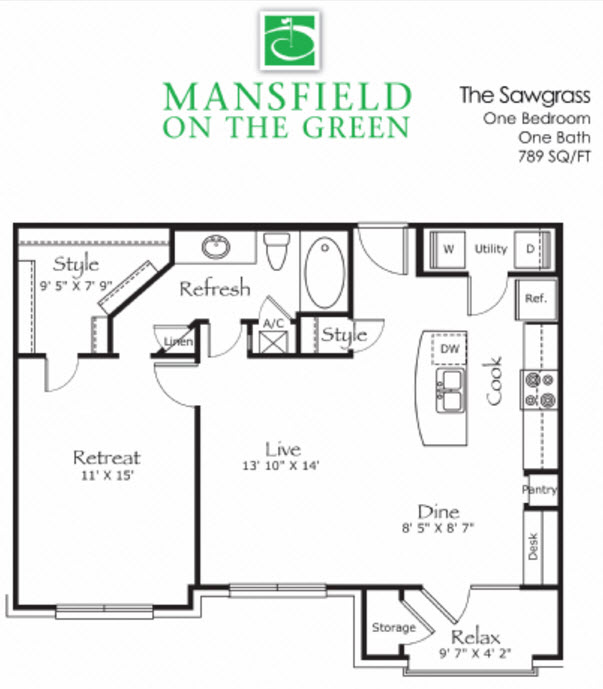 789 sq. ft. Sawgrass floor plan