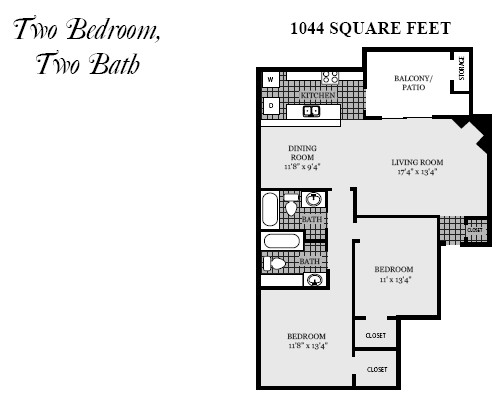 1,044 sq. ft. B5 floor plan