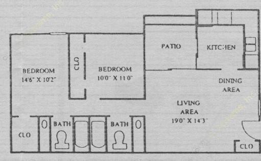 875 sq. ft. B2 floor plan