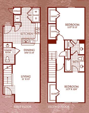 1,079 sq. ft. B1/60 floor plan