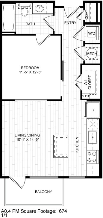 674 sq. ft. A0.4 floor plan