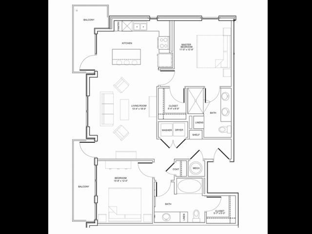 1,098 sq. ft. 2A floor plan