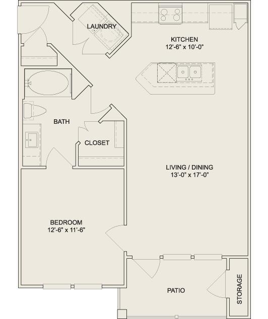 733 sq. ft. A2 floor plan