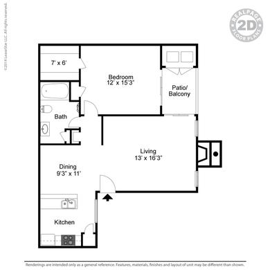 720 sq. ft. floor plan