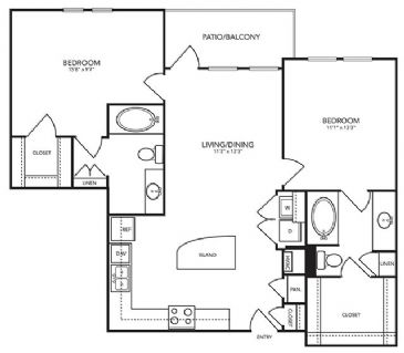 1,067 sq. ft. B10 floor plan