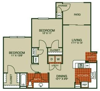 906 sq. ft. Bluebonnet-B 50% floor plan