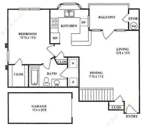 744 sq. ft. A2D floor plan