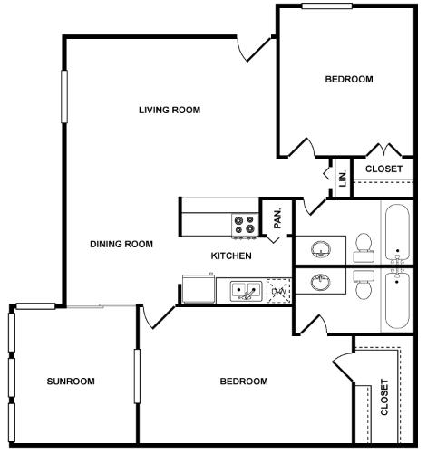1,031 sq. ft. Galaxy floor plan