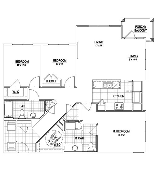 1,437 sq. ft. C1/HC floor plan