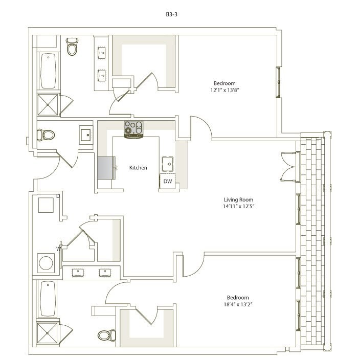 1,352 sq. ft. B3-3 floor plan