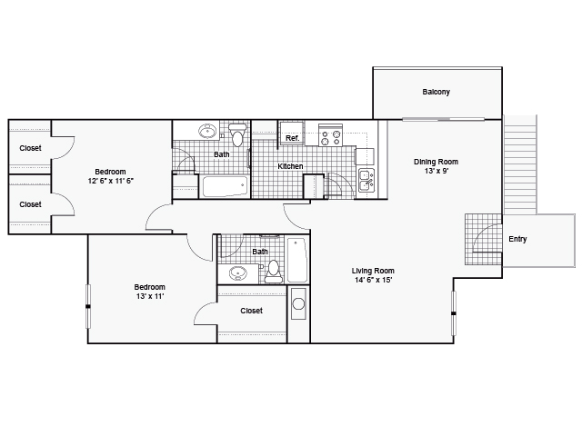 1,120 sq. ft. II F-1/II F-2 floor plan