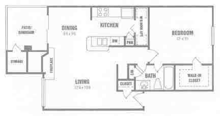 765 sq. ft. A4 floor plan