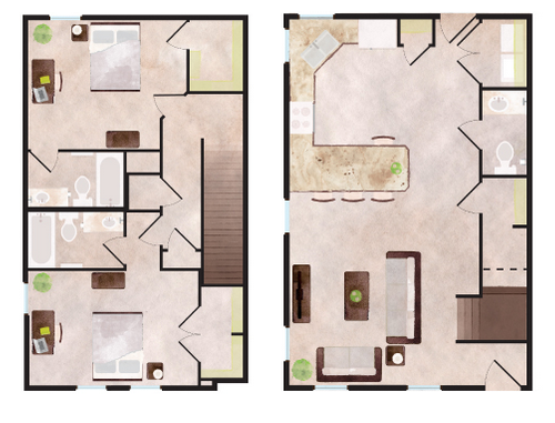 1,357 sq. ft. Aspen floor plan
