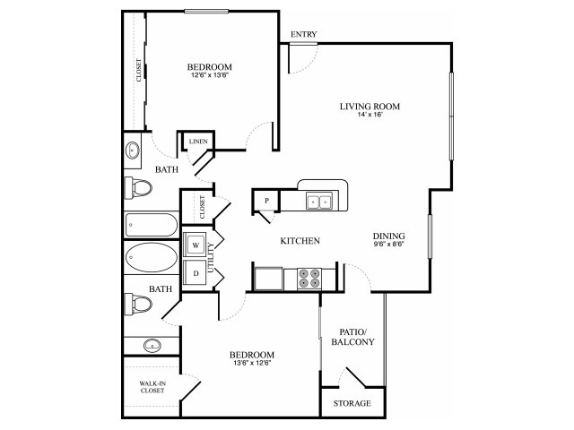 903 sq. ft. E floor plan
