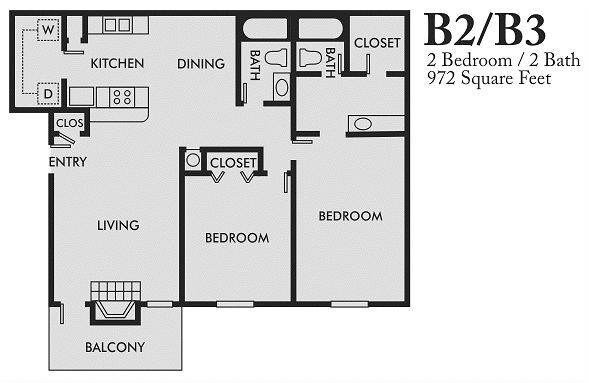 972 sq. ft. B3 floor plan
