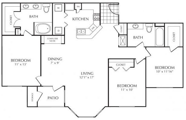 1,375 sq. ft. floor plan