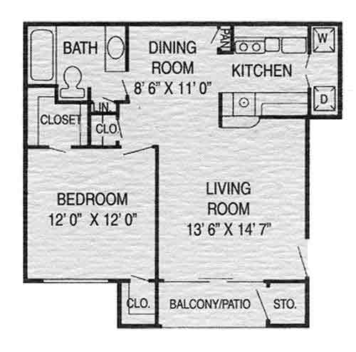630 sq. ft. B floor plan