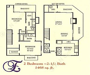 1,468 sq. ft. E floor plan